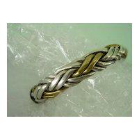 Solid Sterling Silver w Brass Woven Braided Bracelet