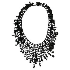 Vintage Sajen Black Onyx Gemstone Waterfall Necklace