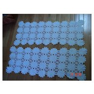 Set of Crochet Lace Doily Table Runners