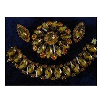 Topaz Art Glass Stones & Orange Rhinestone Parure  Set