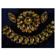 Topaz Art Glass Stones & Orange Rhinestone Parure  Set