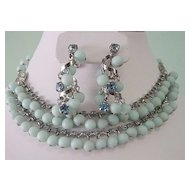Triad Blue Frosted Glass Double String Necklace and Dangle Earrings