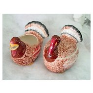 Hand Painted Embossed Ceramic Turkey Figures Creamer and Sugar Set