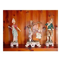 Three Piece French Porcelain Figural Courting Scene