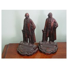 George Washington Pair of Cast Iron w Bronze Finish Book Ends