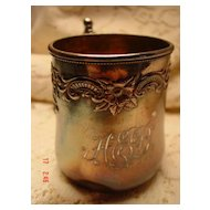 Quadruple Plated Wilcox Silver Plate Co. Monogram Baby Cup