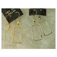 Vintage Wire Dangling  Earrings w 14Kt Gold Filled Wire Hoop Pierce Earrings