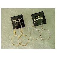 Vintage Wire Dangling Earrings w 14Kt Gold Filled Wire Hoop Earrings