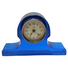 Seikosha, Tokyo, Japan Vibrant Blue Glass Mantle or Desk Clock with Metal Hand-Wind Mechanism