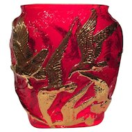 Consolidated Rare Red & Gold Decorated Seagull Vase