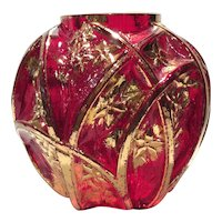 "Consolidated Rare Red & Gold Decorated Pattern # 700 ""Martele"" Vase"