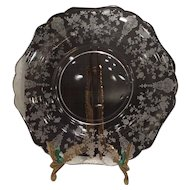 """Cambridge Crystal Rosepoint Etched #3400/63 - 9.5"""" - 10"""" (W) Round Dinner Plate"""