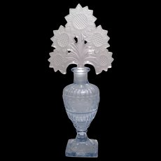Imperial Blue E-106 Tall Sunflower Pattern Cologne Bottle & Crystal Stopper