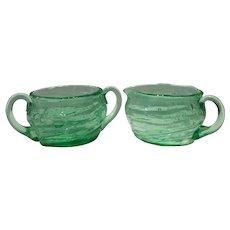 Consolidated Emerald Green Catalonian Cream & Sugar Set