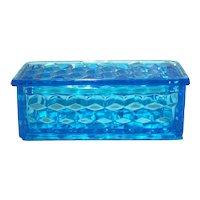 Fostoria American Blue Jewel or Small Cigarette Covered Box