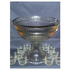 Heisey Pattern # 150 Banded Flute Punch Bowl Set