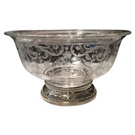 Cambridge Crystal Chantilly Etched Bowl with Sheffield Sterling Silver Decorated Foot