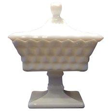 Fostoria Milk Glass American Pattern Small Wedding Bowl & Lid