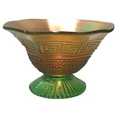 Northwood Green Carnival Greek Key & Scales Footed Bowl