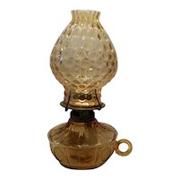 Fostoria Amber Coin Pattern #1372 Glass Handled Courting Oil Lamp