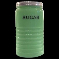 """Jeannette Glass Light Jadite Round 40 Ounce """"Sugar"""" Canister"""