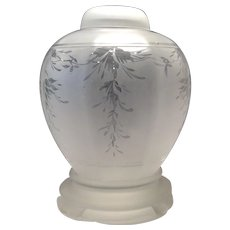 Fenton Crystal Wistaria Acid Etched (Satin) Ginger Jar with matching Lid & Footed Base