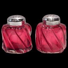 Fenton Ruby Overlay #6006 Wave Crest Salt & Pepper Shakers