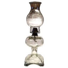 Vintage EAPG Crystal Greek Key Full Size Kerosene Oil Lamp & Matching Shade
