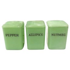 "Jeannette Jadite 3"" Miniature Spice Cannister(s)"