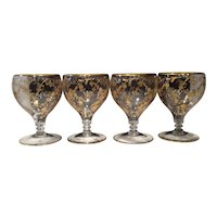 Cambridge Crystal Tally Ho #1402/100 Blown 12 Ounce (Set of 4) Footed Goblets with Gold Elaine Etch