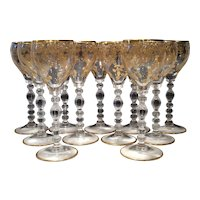 Cambridge Crystal Tally Ho #1402 Set of 11 Blown Wine Goblets with Gold Elaine Etch