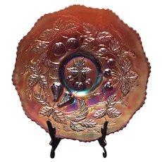 "Dugan or Fenton Amethyst Carnival ""Three Fruits"" Variant 12-Sided - 9.5"" Plate"