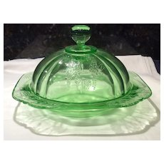 Federal Glass Green Parrot, Sylvan, Butter Dish & Cover
