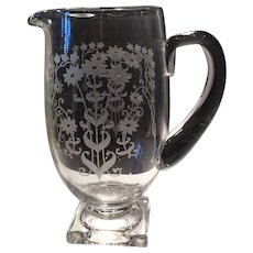 Fostoria Crystal Manor Etched (#286) Square Footed Jug (#4020)
