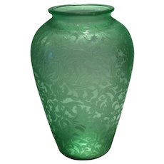 "Consolidated Green Florentine Etched 7"" Vase"
