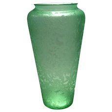"Consolidated Green Florentine Etched 8-1/4"" Vase"