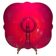 """Paden City Ruby Red Orchid Etched 11"""" Crows Foot Bowl"""