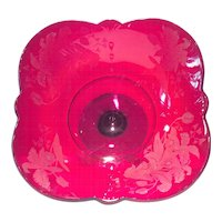 Paden City Ruby Red Crows Foot Footed Bowl with Orchid Etch