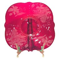 Paden City Ruby Red Crows Foot Cheese/Cracker Plate (Only) with Orchid Etch