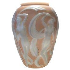 Phoenix Peach over Milk Glass Dancing Girl (Nymph) Vase