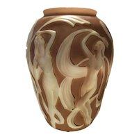 Phoenix Brown Shadow over Milk Glass Dancing Girl (Nymph) Vase