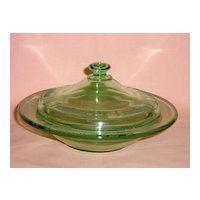 Fostoria Beverly Etched Green Butter and Cover