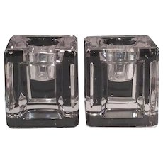 Cambridge Pair of Crystal Square Pattern No. 3797/493 Candlesticks