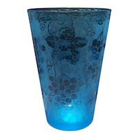 Fostoria Azure Blue Grape Brocade Pattern #287 Flip Vase