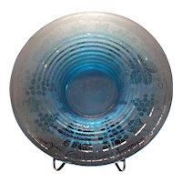 "Fostoria Azure Blue Grape Brocade #2362-12"" Low Saturn Rings Bowl"