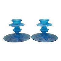 Fostoria Azure Blue Pair of Grape Brocade #2362 Candleholders