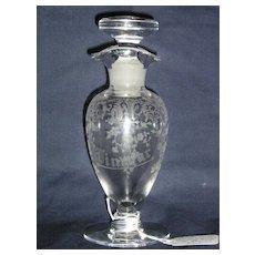 Cambridge Portia etched French Dressing Oil & Vinegar Bottle