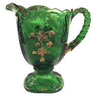 "Northwood ""Flower Spray with Scrolls"" or ""Intaglio"" Emerald Green 48 ounce Pitcher"