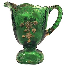 """Northwood """"Flower Spray with Scrolls"""" or """"Intaglio"""" Emerald Green 48 ounce Pitcher"""