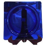 "Duncan Miller Glass Cobalt Blue Terrace 7.5"" Square Salad Plate"